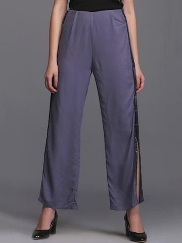 Eavan Women Grey Straight Fit Solid Regular Trousers Eavan Trousers at myntra