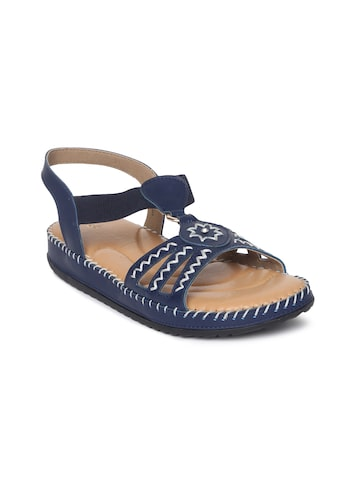 Catwalk Women Blue Woven Design Open Toe Flats Catwalk Flats at myntra