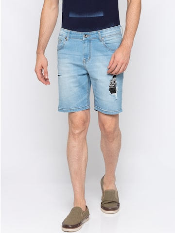 Globus Men Blue Solid Regular Fit Denim Shorts Globus Shorts at myntra