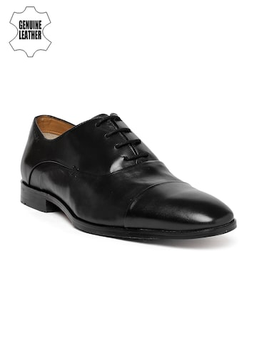 Ruosh Men Black Genuine Leather Work Formal Oxfords Ruosh Formal Shoes at myntra