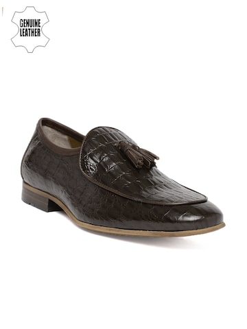Ruosh Brown Textured Ocassion Genuine Leather Semi-formal Slip-ons Ruosh Formal Shoes at myntra