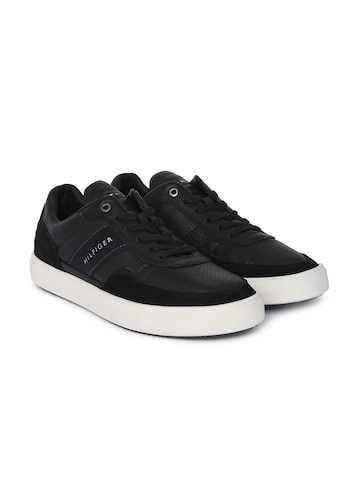 Tommy Hilfiger Men Black Leather Sneakers Tommy Hilfiger Casual Shoes at myntra