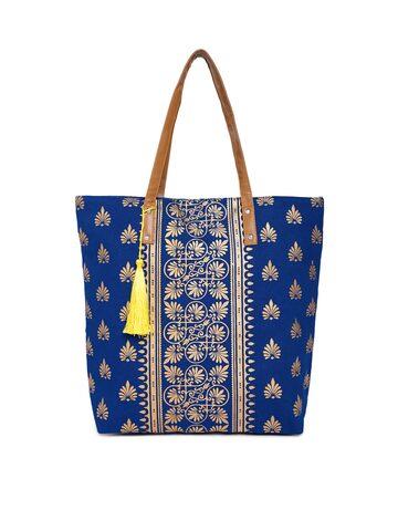 Kanvas Katha Blue Printed Tote Bag Kanvas Katha Handbags at myntra