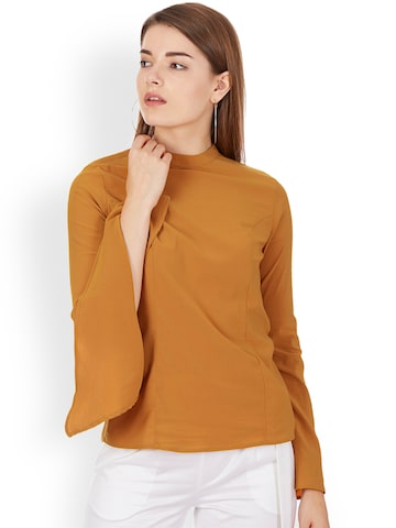 Colormode Women Mustard Yellow Solid Top with Bell Sleeves Colormode Tops at myntra
