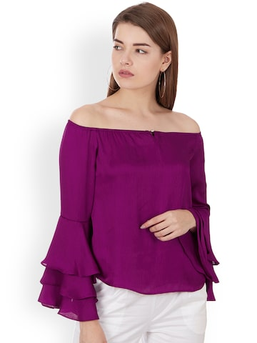 Colormode Women Purple Solid Bardot Top with Bell Sleeves Colormode Tops at myntra