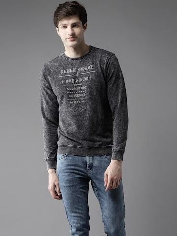 Flying Machine Men Charcoal Grey Printed Sweatshirt Flying Machine Sweatshirts at myntra