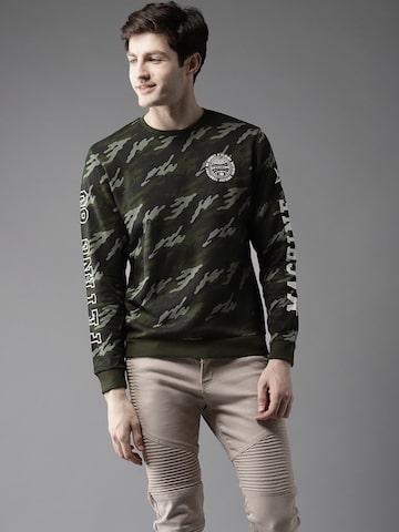 Flying Machine Men Olive Green & Black Camouflage Print Sweatshirt Flying Machine Sweatshirts at myntra