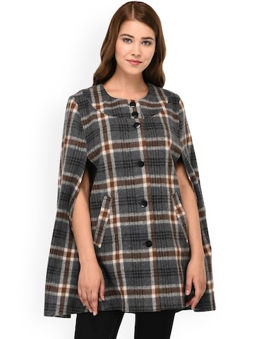 Owncraft Grey Checked Woollen Cape Owncraft Coats at myntra