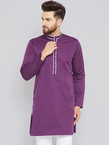 See Designs Men Purple Solid Straight Kurta See Designs Kurtas at myntra