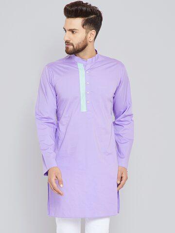 See Designs Men Lavender Solid Straight Kurta See Designs Kurtas at myntra