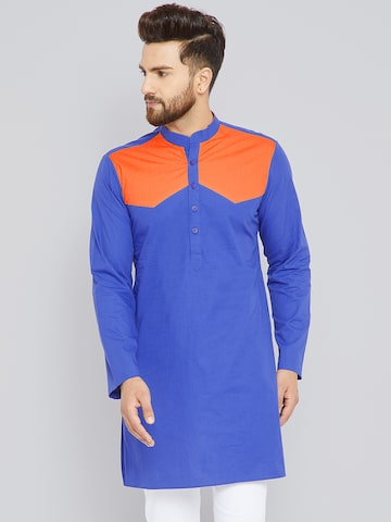 See Designs Men Blue & Orange Colourblocked Straight Kurta See Designs Kurtas at myntra