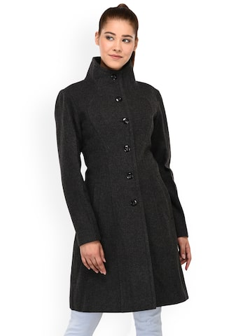 Owncraft Women Charcoal Grey Double Breasted Woolen Overcoat Owncraft Coats at myntra