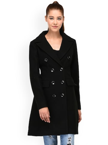 Owncraft Black Solid Double-Breasted Overcoat Owncraft Coats at myntra