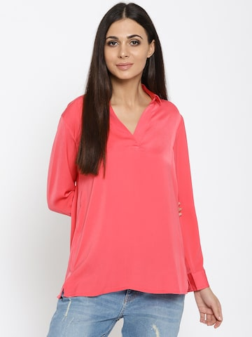 United Colors of Benetton Women Coral Pink Solid Shirt Style Top United Colors of Benetton Tops at myntra
