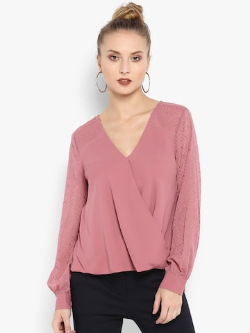 Forever New Women Pink Embellished Wrap Top Forever New Tops at myntra