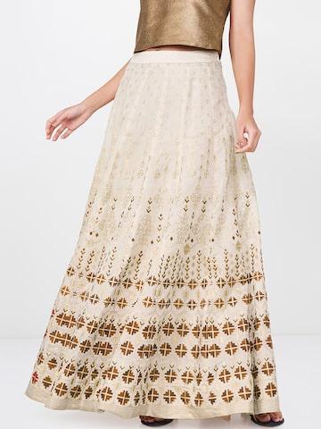 Global Desi Women Beige Geometric Printed Flared Maxi Skirt Global Desi Skirts at myntra