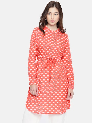Global Desi Coral Pink Printed Tunic Global Desi Tunics at myntra