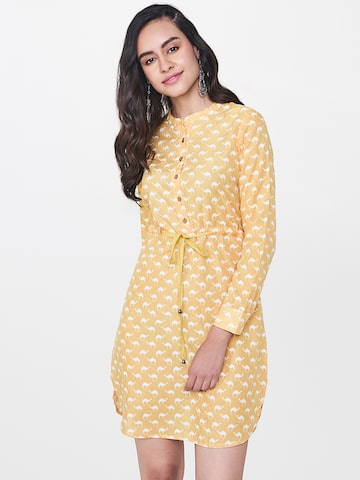 Global Desi Yellow & White Printed Tunic Global Desi Tunics at myntra
