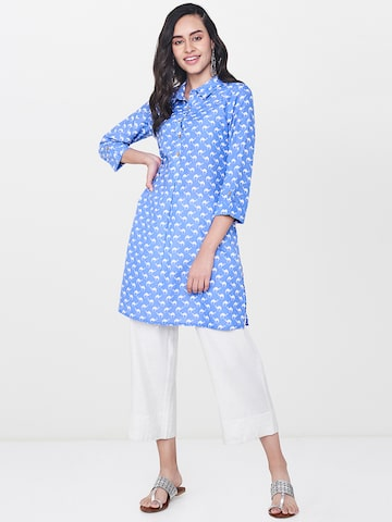 Global Desi Blue Printed Tunic Global Desi Tunics at myntra