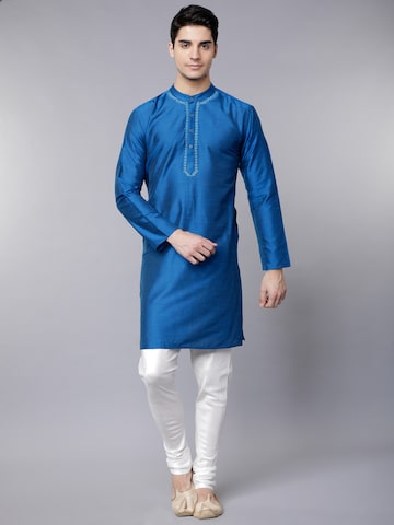 Svanik Men Navy Blue Woven Design Straight Kurta Svanik Kurtas at myntra