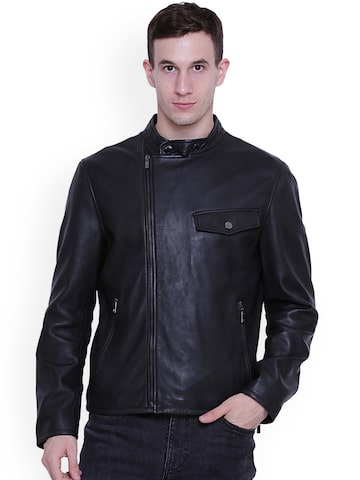 Justanned Men Black Solid Leather Jacket Justanned Jackets at myntra