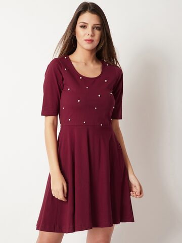Miss Chase Women Maroon Embellished Fit and Flare Dress Miss Chase Dresses at myntra