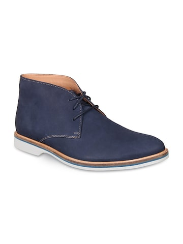 Clarks Men Blue Solid Leather Mid-Top Flat Boots Clarks Casual Shoes at myntra