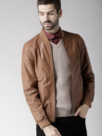 Tommy Hilfiger Men Brown Solid Leather Jacket Tommy Hilfiger Jackets at myntra