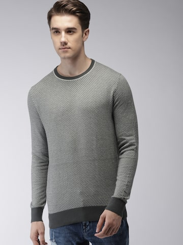 Tommy Hilfiger Men Grey & Off-White Self Design Pullover Tommy Hilfiger Sweaters at myntra