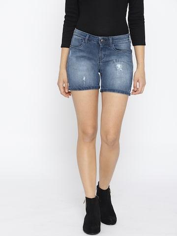 Jealous 21 Women Blue Washed Slim Fit Denim Shorts Jealous 21 Shorts at myntra