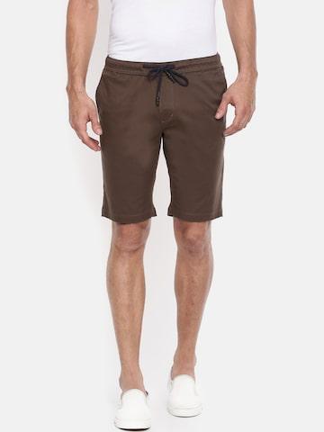 The Indian Garage Co Men Brown Solid Slim Fit Chino Shorts The Indian Garage Co Shorts at myntra
