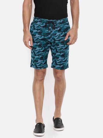The Indian Garage Co Men Blue Printed Slim Fit Chino Shorts The Indian Garage Co Shorts at myntra