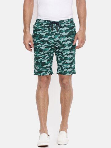 The Indian Garage Co Men Teal Printed Slim Fit Chino Shorts The Indian Garage Co Shorts at myntra