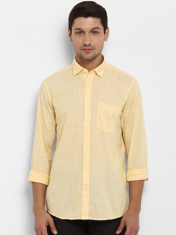 ColorPlus Men Yellow Slim Fit Solid Casual Shirt ColorPlus Shirts at myntra