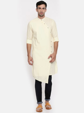 The Indian Garage Co Men Cream-Coloured Solid Straight Kurta The Indian Garage Co Kurtas at myntra