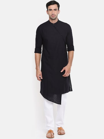 The Indian Garage Co Men Navy Blue Solid Straight Kurta The Indian Garage Co Kurtas at myntra