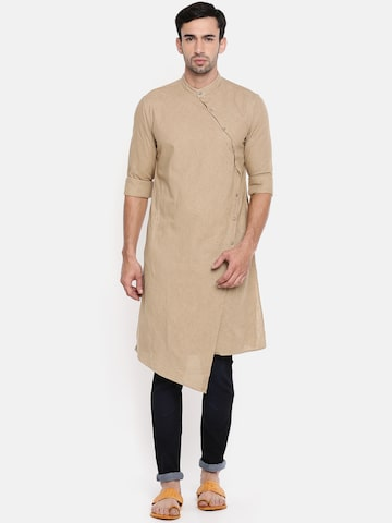 The Indian Garage Co Men Khaki Solid Straight Kurta The Indian Garage Co Kurtas at myntra
