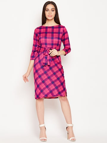 Meee Women Pink Checked Sheath Dress Meee Dresses at myntra
