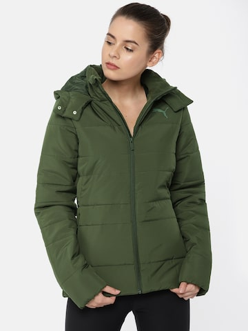 Puma Women Olive Green Hooded ESS HD Puffer Jacket Puma Jackets at myntra