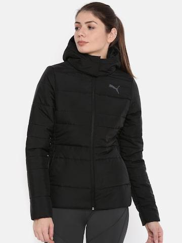 Puma Women Black Solid Regular Fit ESS 400 HD Hooded Padded Jacket Puma Jackets at myntra