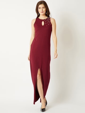 Miss Chase Women Maroon Embellished Maxi Dress Miss Chase Dresses at myntra