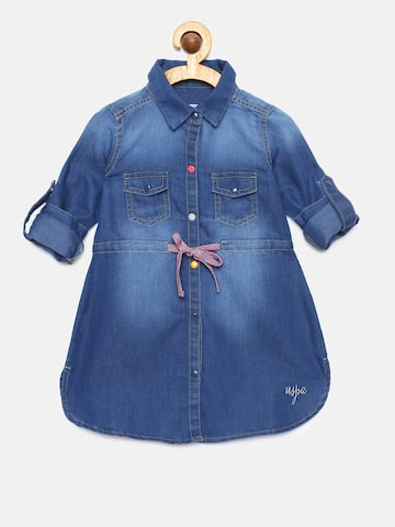 U.S. Polo Assn. Kids Girls Blue Denim Solid Shirt Dress U.S. Polo Assn. Kids Dresses at myntra