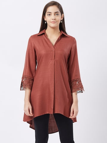 Fusion Beats Women Rust Brown Solid Shirt Style Tunic Fusion Beats Tunics at myntra
