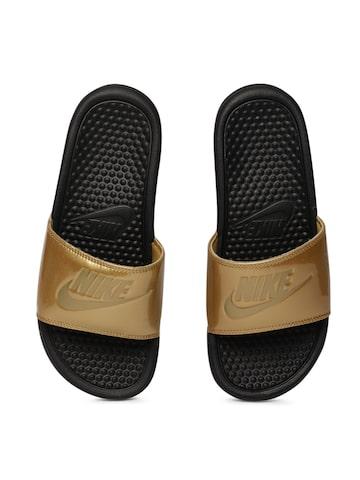 Nike Women Gold-Toned BENASSI JDI PRINT Sliders Nike Flip Flops at myntra