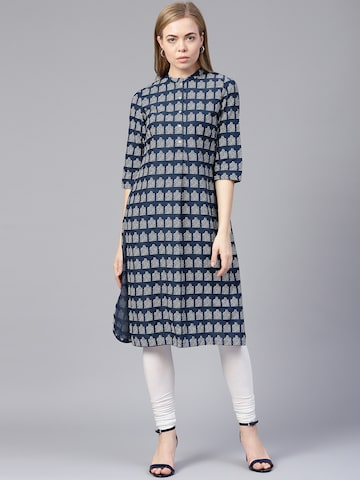 W Women Navy Blue & White Printed Straight Kurta W Kurtas at myntra