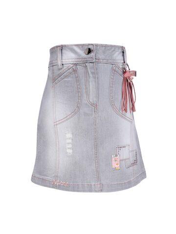 CUTECUCUMBER Girls Grey & Pink Denim Skirt CUTECUMBER Skirts at myntra