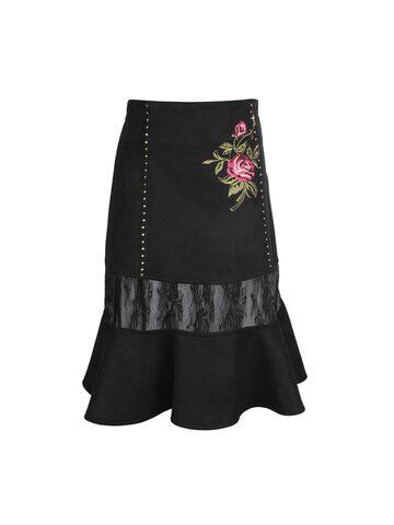 CUTECUMBER Girls Black Trumpet Skirt CUTECUMBER Skirts at myntra