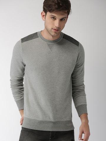 Tommy Hilfiger Men Grey Solid Sweatshirt Tommy Hilfiger Sweatshirts at myntra