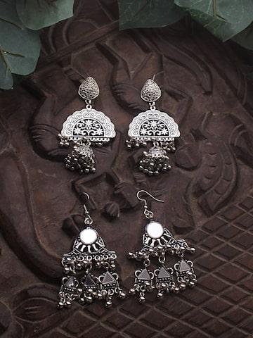 Sia Art Jewellery Silver-Toned Classic Oxidised Drop Earrings Sia Art Jewellery Earrings at myntra