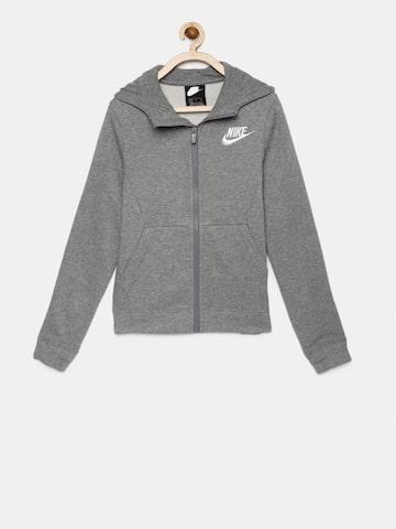 Nike Boys Grey Solid B NSW HOODIE FZ CLUB Hooded Sweatshirt Nike Sweatshirts at myntra